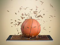 Basketball and new communication technology. Tablet pc with basketball field and a ball coming out by breaking the glass, concept of sport and new communication Stock Photography
