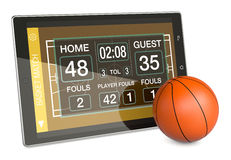 Basketball and new communication technology. Tablet pc with basketball field, a score board and a ball, concept of sport and new communication technology (3d Royalty Free Stock Photography