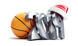 Basketball new year 2019 santa hat on a white background 3D illustration, 3D rendering royalty free illustration