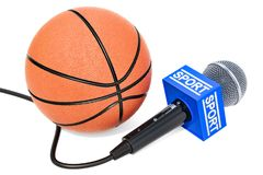 Basketball News concept. Microphone sport news with basketball b. All, 3D rendering isolated on white background Royalty Free Stock Photo