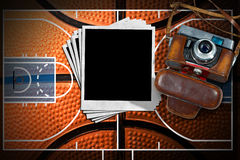 Basketball - Old Camera and Photo Frames Stock Photo