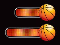 Basketball on orange checkered banners Royalty Free Stock Images