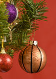 Basketball Ornament Hanging From Tree Stock Photo