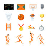 Basketball Orthogonal Icons Set. With players trophies whistle stopwatch backboard court and sports uniform isolated vector illustration Royalty Free Stock Photos