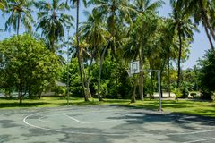 Basketball outdoors playground at the tropical island stock photos