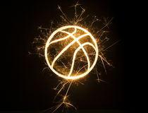 Basketball outline in sparks Royalty Free Stock Photos