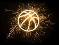 Basketball outline in sparks Royalty Free Stock Photography