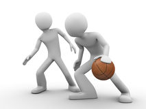 Basketball outplay (deffence vs. offence) Stock Photos