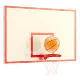 Basketball over hoop isolated. Plastic basketball ball over hoop isolated on white background, 3d render Stock Images
