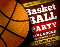 Basketball party with a basketball ball on a wooden floor. Vector illustration. Can be used as flyer, poster, invitation royalty free illustration