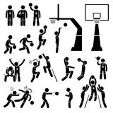 Basketball Player Action Poses Cliparts. A set of stickman pictogram representing a basketball players skills, actions, and postures. This include layup, slam royalty free illustration
