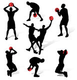 Basketball people silhouettes Royalty Free Stock Photo