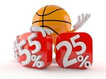 Basketball with percent symbols stock illustration