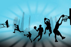 Basketball. Pick-up basketball game at an outdoor park at sunset in newport vector illustration