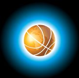 Basketball planet. The sparkling orange outshining basket ball on blue sky Royalty Free Stock Photography