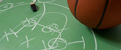 Basketball with play on a chalkboard Royalty Free Stock Image