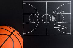 Basketball play strategy drawn out on a chalk board. With Ball Stock Photography