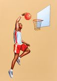 Basketball player. Jumping. Hand painted illustration Royalty Free Stock Photo