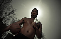 Basketball player. A closet-up shot of a basketball player Stock Photo