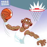 Basketball player. The illustration shows a black man basketball player. He throws the ball into the ring Royalty Free Stock Photos