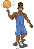 Basketball player. Cartoon illustration of a cute basketball player spinning the ball on his finger Stock Photography