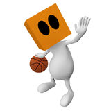 Basketball player. 3d little cute people with cube orange head - basketball player isolated on white stock illustration