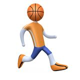Basketball Player. 3d basketball player with his head replaced by a ball Stock Photography