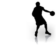 Basketball player. Silhouette, vector illustration stock illustration