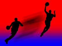 Basketball Player In Action. Black illustration of basketball player in action at the red and blue background with clipping path Stock Photo