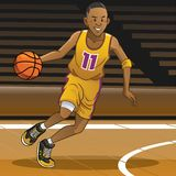 Basketball player on action. Vector of basketball player on action royalty free illustration
