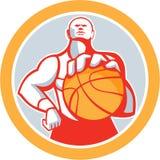 Basketball Player With Ball Circle Retro Royalty Free Stock Photos