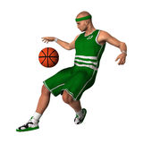 Basketball Player with Ball. 3D digital render of a basketball player with a ball isolated on white background Stock Images