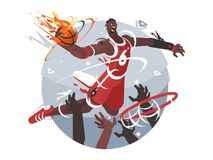 Basketball player with ball. Makes slam dunk. Vector flat illustration vector illustration