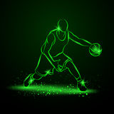Basketball player with ball. Neon style. Basketball player with ball. Vector neon illustration royalty free illustration