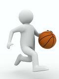 Basketball player with ball on white background Royalty Free Stock Photography