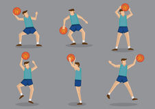 Basketball player with Basketball Jumping, Shooting and Throwing. Basketballer in green jersey and blue shorts jumping, aiming, shooting and throwing basketball Stock Photos