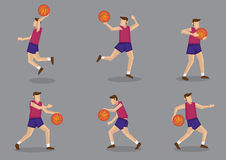 Basketball player with Basketball Vector Illustration. Set of six poses of a sporty basketballer playing basketball vector illustration isolated on grey Stock Image