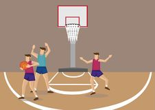 Guarding and Blocking in Basketball Game Court Vector Illustrati. Basketball player blocked by opponent, trying to pass ball to unguarded teammate. Cartoon Royalty Free Stock Photo