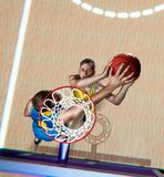 Basketball player is blocking shot during the match royalty free stock photography