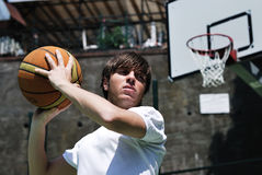 Basketball Player with Blurred Background Stock Image