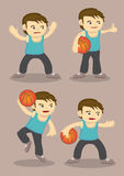 Basketball Player Cartoon Vector. Vector cartoon of a young basketball player in four different poses Stock Photography
