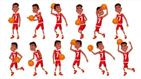 Basketball Player Child Set Vector. In Action. Leads, Playing With A Ball. Healthy Lifestyle. Runningm Jump With Ball. Basketball Player Child Set Vector. In royalty free illustration
