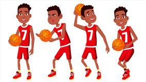 Basketball Player Child Set Vector. Different Poses. Leads The Ball. Sport Game Competition. Sport. Isolated Flat. Basketball Player Child Set Vector. Various vector illustration