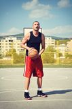 Basketball player concentrate and preparing for shoot. Basketball player preparing for shoot Royalty Free Stock Photo