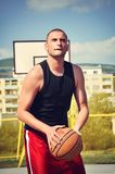 Basketball player concentrate and preparing for shoot. Basketball player preparing for shoot Stock Photography