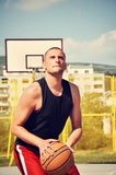 Basketball player concentrate and preparing for shoot. Basketball player preparing for shoot Stock Photos