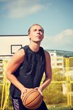 Basketball player concentrate and preparing for shoot. Basketball player preparing for shoot Royalty Free Stock Photos