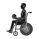Basketball player disabled.Basketball single icon in black style vector symbol stock illustration web. Stock Photography
