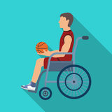 Basketball player disabled.Basketball single icon in flat style vector symbol stock illustration web. Stock Image