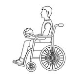 Basketball player disabled.Basketball single icon in outline style vector symbol stock illustration web. Royalty Free Stock Photos